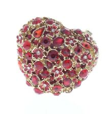 Jeweled Romantic Red Heart Austrian Crystal Ciel Hinged Collectible Trinket Box