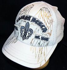 Laguna Beach Jeans Company Fleur de Lis White Snapback Trucker Baseball Hat Cap