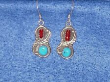 New Vintage Native American Coral Turquoise Earrings Handcrafted Sterling Silver