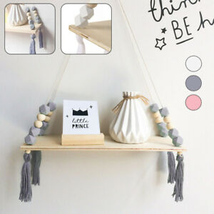 Display Wood Wall Shelf Shelves Hanging Rack Kids Storage Room Decor HOT
