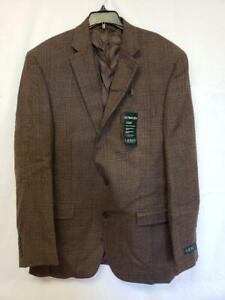 $375 Lauren Ralph Lauren Mens Suit Jacket Brown Plaid Size 42L