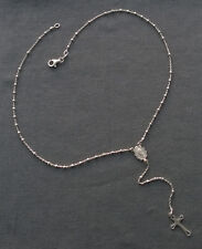 STERLING SILVER DAINTY RELIGOUS CHRISTIAN ROSARY NECKLACE CHAIN 18""