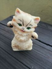 VTG RARE MEXICAN CLONE SQUEAKY RUBBER CAT TOY WITH GREEN EYES MADE IN MEXICO