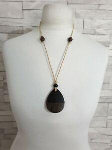 Cream Cord Necklace Brown Wood Beads & Pendant Costume Jewellery Bohemian Hippie