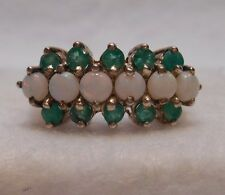 *Estate~Genuine Opal & Emeralds 925 Sterling Silver Cocktail Ring Size 7.25