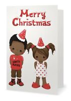 African American Little Boy and Girl Christmas Greeting Cards (Pack of 10)