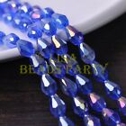 New 30pcs 12X8mm Faceted Teardrop Crystal Glass Spacer Loose Beads Blue AB