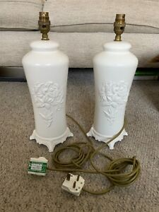 Pair of large vintage ceramic lamp bases 33cm Laura Ashley? 4 footed
