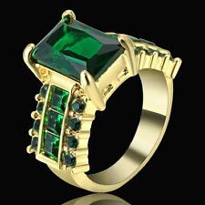 Size 7 Gold Rhodium Green Emerald Crystal Wedding Ring Propose Anniversary Gift