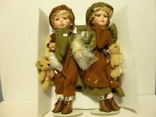 """Porcelain twin dolls 16 """" Connie Tim 1 /2000 MIB COA Winter boy girl CATHAY"""