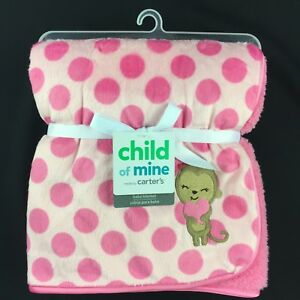 Child of Mine Monkey Holding Heart Pink Polka Dots Baby Blanket Carter's