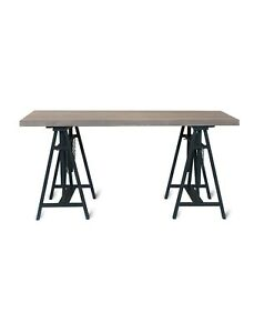 Adjustable Height Grey Pale Wooden Sturdy Home Office Study Desk Trestle Table
