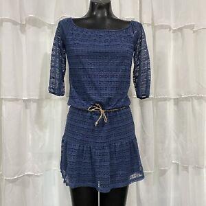Small Vintage 90s Delias Dusty Blue Lace Prairie Chic Blouse Top