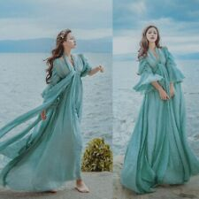 Womens Fairy Medieval Maxi Long Dress High Waist Prom Gown Victorian Retro Blue