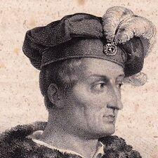 Lithographie Portrait Amerigo Vespucci Amérique America Fizenze Italie 1835