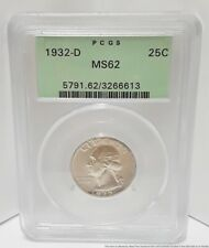 1932-D MS62 MS 62 25C PCGS Silver Quarter Dollar USA Coin American 6.2g 24.3mm