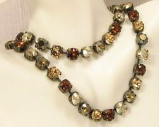 BROWN Cup Chain Necklace,TOASTED ALMOND made w/ SMOKED TOPAZ Swarovski CrystalS