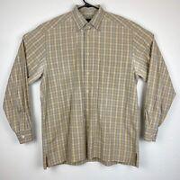 Ermenegildo Zegna Men's Large Multi-Color Check Long Sleeve Shirt Made In Italy