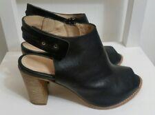 POSTE MISTRESS Womens Ankle Boots Sz 4 UK 37 EU Leather Black Open Toe Heel Chic