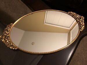 "Vintage MATSON GOLD Ormolu Roses Vanity Dresser Oval MIRROR PERFUME TRAY 18.5"""