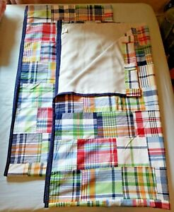 """Pottery Barn Kids Set of 2 Madras Plaid Blackout Lined Curtains 84"""" X 44"""" VGC"""