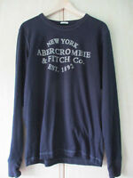 mens ABERCROMBIE & FITCH THIN BLACK COTTON CREW NECK JUMPER SMALL MUSCLE FIT
