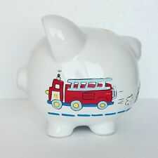 Vintage Piggy Bank Ceramic Glass Hand Painted Fire Truck Police Car Ambulance