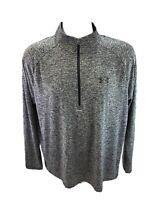 Under Armour Men's Gray HeatGear Long Sleeve 1/4 Zip Pullover Shirt Sz L