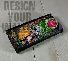 Womens Wallet bifold Leather beauty and the beast disney inspired stained glass
