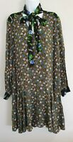 Womens Sandro Paris Khaki Contrast Floral Ditsy Pussy Bow Tunic Dress 38 Vgc.