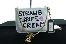 BNWT TED BAKER FLAVIA BLACK & WHITE STRAWBERRIES / CREAM XBODY LEATHER BAG
