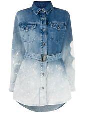 Off-White Gradient Denim Shirt Dress in Blue