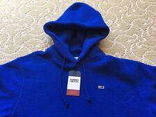 Tommy Hilfiger Mens Hoddie Sherpa Blue Fuzzy Logo Sweatshirt Size Medium M New