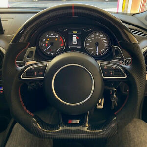 For Audi A1 A3 A5 A7 car steering wheel cover black leather Black Carbon fiber