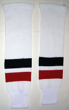 Jrs. Size Medium 25� White with Navy and Orange Stripes Hockey Socks