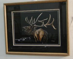 Matted & Framed AL Agnew AP 29/75 Bull Elk