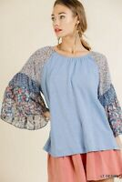 Umgee Blue Mixed Floral Print Bell Sleeve Top