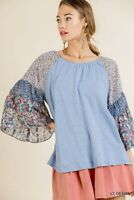 Umgee Blue Floral Mixed Print Bell Sleeve Top Size Small