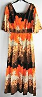Maxi Dress Vtg 70s Hostess Gown Floral Hawaii Orange Brown Floral Back Zip