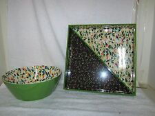 New Decorative Green Serving Bowl & Tray (2 pack) !