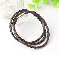 Men Women Leather infinity Interlaced Cuff Bangle Wristband wrap Bracelet hs one