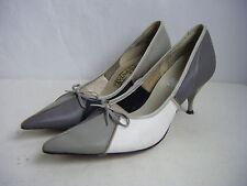 Weekenders By Belle Mode Vtg 60s White/Grey Bow Low Heels-6.5 Aa