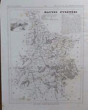 Carte Département Hautes Pyrénées gravée sur acier par Alés Petit Atlas National