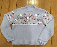 The Childrens Place Lavender Sparkly Flowers Sweater Girls XL 14