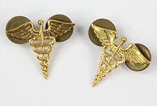 Insignes de col d'officier US MEDECIN / MEDICAL CORPS WW2  (matériel original)