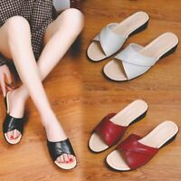 Summer Women's Wedge Heel Slippers Slides Sandals Open Toe Casual Shoes Slip On