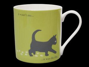 Silhouette LARGE Funny Cat Bone China Mug - It was the Dog,  Stoke-on-Trent