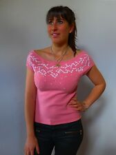 Vintage retro true 1990s 12 M off the shoulder pink stretch top