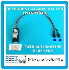 Deterrent Alarm Siren LEDs Twin Flash/Alternating BLUE LED's 10 yr Batt Fitted