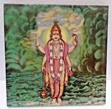 Vintage Art Nouveau Majolica Ceramic Tile Depicting Lord Vishnu Japan Decora#480
